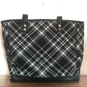 Thirty-One Black White Plaid Tote Bag Large